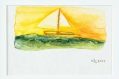 «Escapade! Une barque à voile par une belle journée sur l'océan.»
